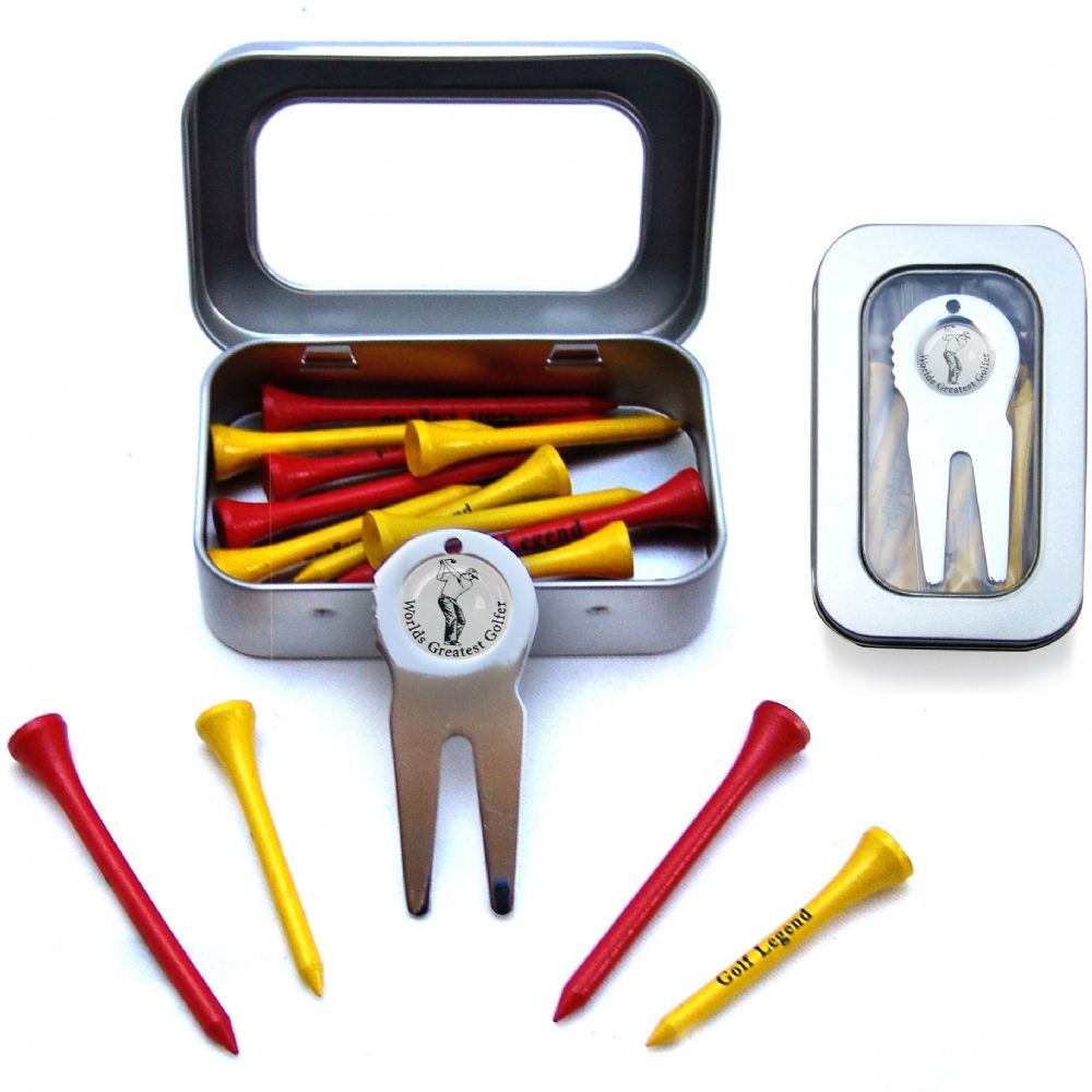 Worlds Greatest Golfer Pitch Repair Fork & Tees Gift Set